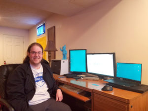 Mechanical Designer Luke Yount at his work from home space, April 2, 2020.