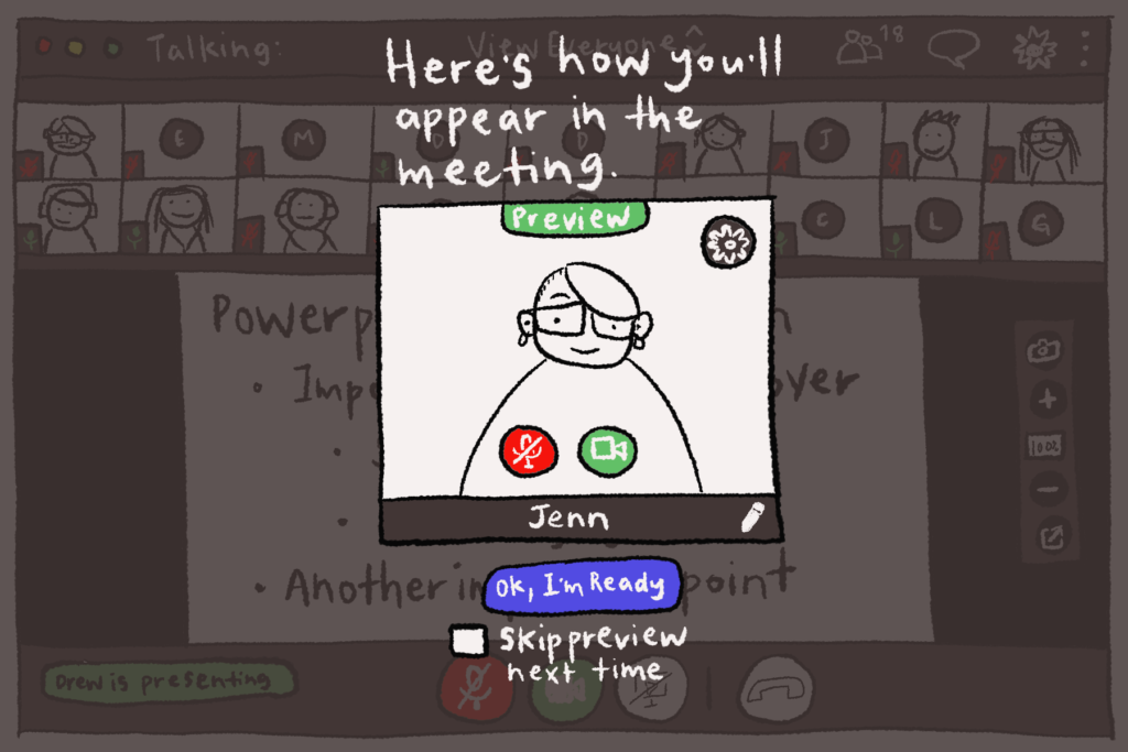 Illustration of the preview window for GoToMeeting conferencing software.