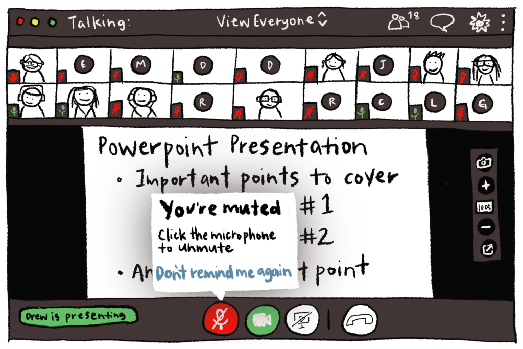 """Illustration of the """"You're Muted"""" pop-up reminder in GoToMeeting."""