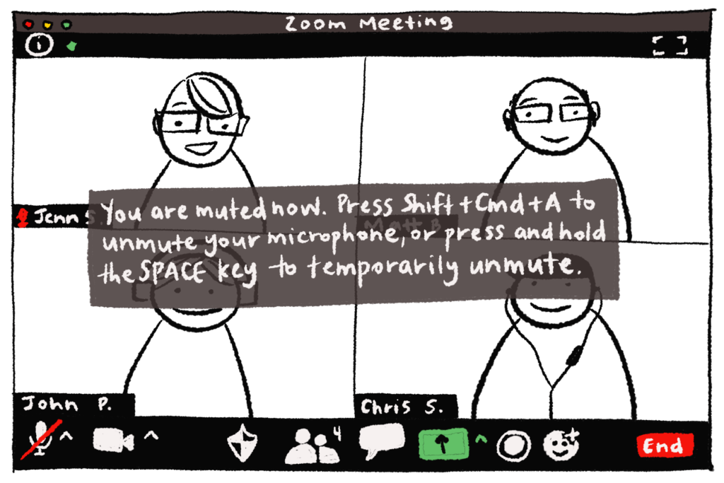 """Illustration of the """"You're Muted"""" pop-up reminder in Zoom."""